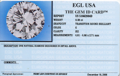 0.38 Carat Loose Vintage Transitional Round Brilliant Cut Diamond G Color SI2 Clarity - Item: D154 - Image: 1