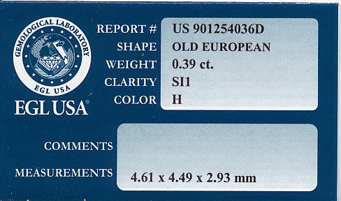 0.39 Carat Loose Old European Cut Diamond H Color SI1 Clarity - Item: D275 - Image: 1