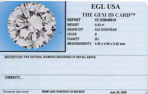 0.43 Carat Loose Old European Cut Diamond H Color SI1 Clarity - Item: D180 - Image: 1