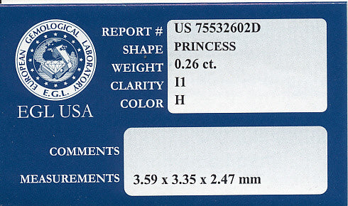 0.26 Carat Princess Cut Diamond H Color I1 Clarity | Completely Eyeclean | EGL USA Certificate | Small Affordable Loose Square Diamond