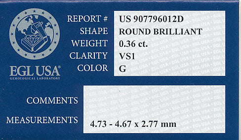 0.36 Carat Round Brilliant Cut Diamond | G Color VS1 Clarity | EGL USA Certificate - Item: D550 - Image: 1