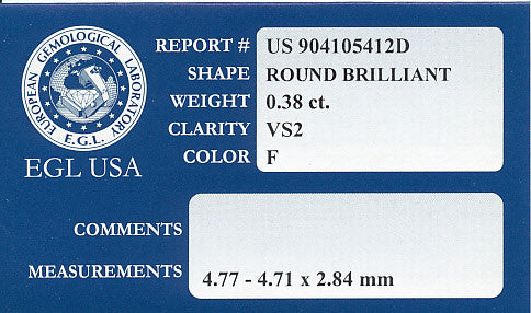 0.38 Carat F Color VS2 Clarity Round Loose Diamond | EGL USA Certified - Item: D408 - Image: 1