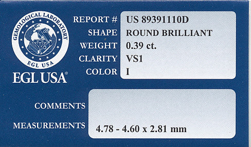 0.39 Carat I Color VS1 Clarity Natural Loose Round Diamond | EGL USA Certificate - Item: D194 - Image: 1