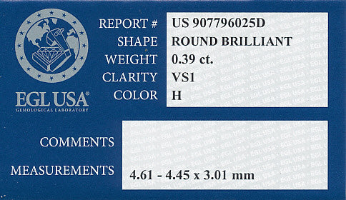 0.39 Carat H Color VS1 Clarity Round Loose Diamond | EGL USA Certified - Item: D562 - Image: 1