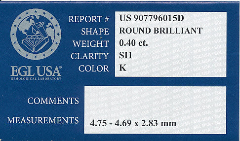 0.40 Carat K Color SI1 Clarity EGL Certified Loose Round Brilliant Cut Diamond - Item: D553 - Image: 1