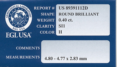 0.40 Carat H Color SI1 Clarity Loose Diamond | Round Brilliant | EGL Certificate - Item: D191 - Image: 1