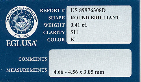 0.41 Carat K Color SI1 Clarity EGL USA Certified Loose Round Diamond - Item: D208 - Image: 1