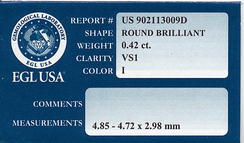 0.42 Round Brilliant Loose Diamond | VS1 Clarity I Color | EGL USA Certified - Item: D344 - Image: 1