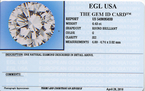 0.43 Carat Natural Loose Round Diamond G Color SI2 Clarity EGL USA Certified | Very Good Symmetry - Item: D218 - Image: 1