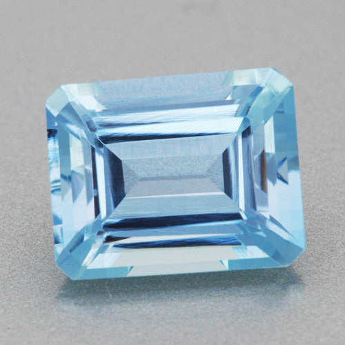 Gorgeous Robin's Egg Blue Fine Loose Emerald Cut Aquamarine 2.71 Carats | Natural 10x8mm Rectangle Gemstone