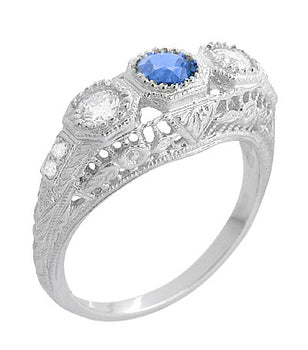 Filigree Edwardian Cornflower Blue Sapphire and Diamonds Three Stone Engagement Ring in 14 Karat White Gold