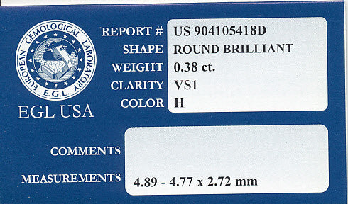 0.38 Carat Natural VS1 Clarity Loose Round Diamond H Color | EGL USA Certified - Item: D410 - Image: 1