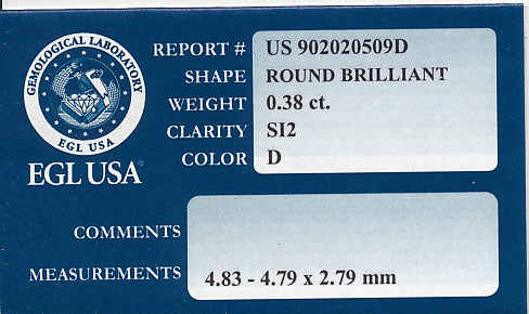 0.38 Carat D Color SI2 Clarity Loose Round Diamond | 100% Eye Clean | EGL USA Certified - Item: D337 - Image: 1