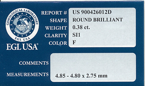0.38 Carat Natural Loose Round F Color Diamond SI1 Clarity | EGL USA Certified - Item: D233 - Image: 1