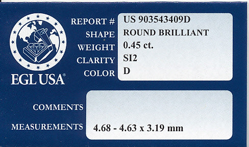 0.45 Carat Loose Round Brilliant Diamond | D Color SI2 Clarity | EGL USA Certificate - Item: D399 - Image: 1