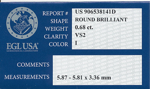 Natural 0.68 Carat Loose Round Brilliant Cut Diamond I Color VS2 Clarity with EGL USA Certificate - Item: D509 - Image: 1