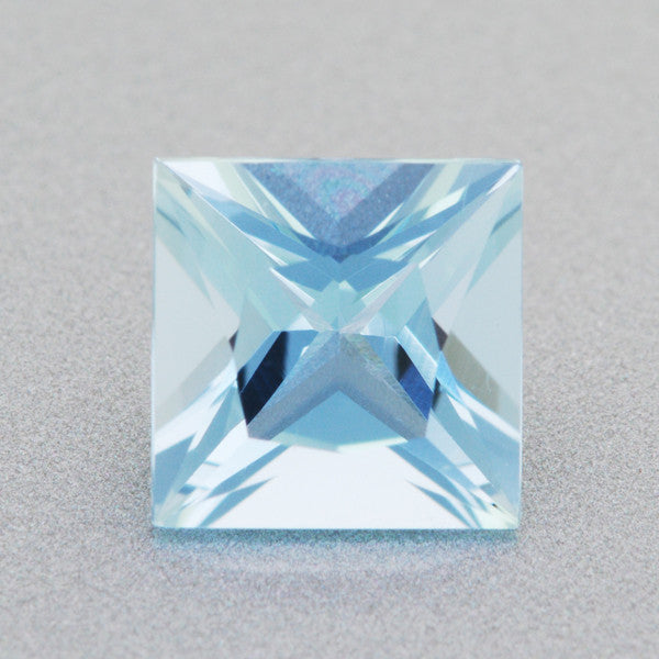 Loose 0.87 Carat Sky Blue Fine Princess Cut Aquamarine Gemstone | Natural 6mm Square