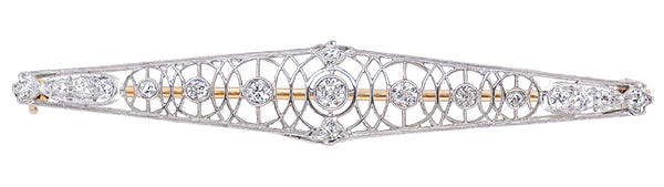 Art Deco Concentric Circles Antique Filigree Diamond Bar Brooch in Platinum