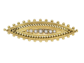Victorian Etruscan Revival Antique Brooch with Seed Pearls in 15 Karat Yellow Gold