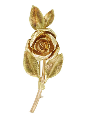 Vintage Tiffany Mid-Century Rose Pin Brooch in 14 Karat Yellow and Rose Gold