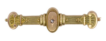 Antique Victorian Diamond Set Bar Pin Brooch in English 9 Karat Gold - Circa 1912