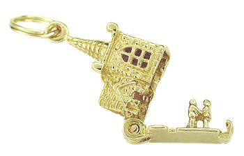 Movable Opening Church and Steeple with Little People Charm in 14 Karat Gold