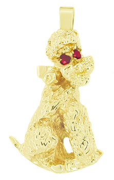 1950's Poodle Dog Pendant in 14 Karat Gold With Ruby Eyes