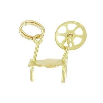 Movable Vintage Spinning Wheel Charm in 10 Karat Yellow Gold