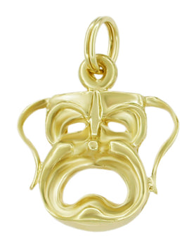 1960's Melpomene Tragedy Charm Pendant in 14 Karat Gold