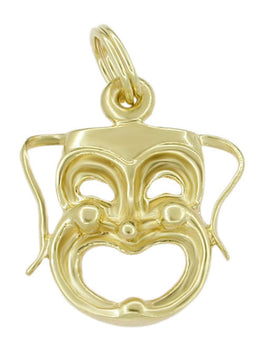 1960's Thalia Muse Comedy Face Charm in 14 Karat Gold
