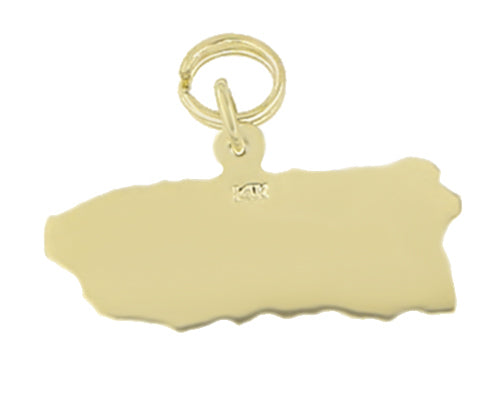Back of Yellow Gold Puerto Rico Charm Map - 14K Solid Gold - C347