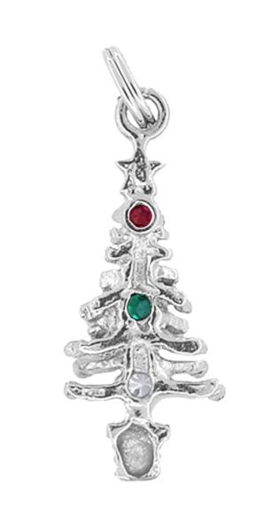 Solid 14K White Gold Christmas Pendant Jewelry