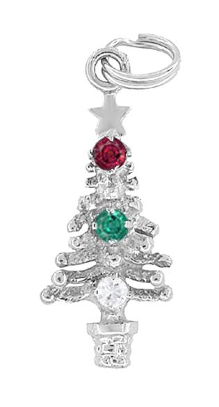 White Gold Christmas Tree Pendant Charm