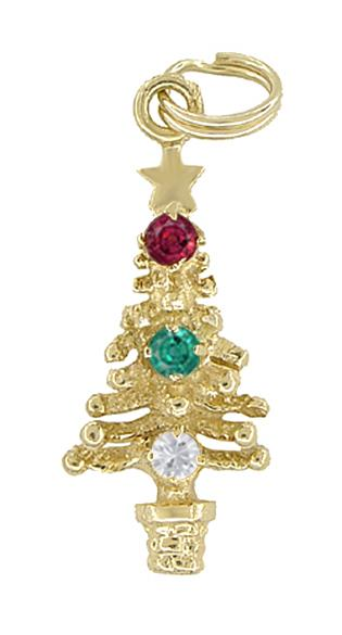 Christmas Tree Charm - Yellow Gold with Ornaments - Ruby Emerald White Sapphire