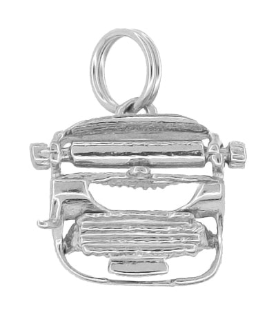 Typewriter Charm - Solid White Gold - Antique Typewriter with Moveable Carriage Return