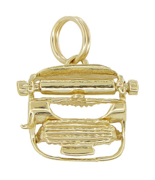 1950's Movable Typewriter Charm Pendant in 14 Karat Gold