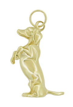 Begging Dachsund Dog Pendant in 14 Karat Gold