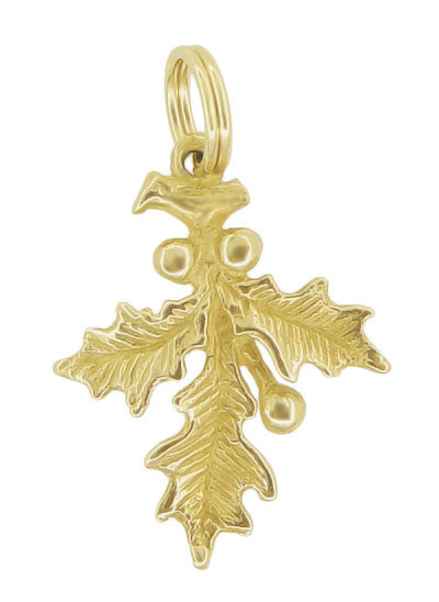 Holly Charm Pendant for Christmas - 14K Yellow Gold Solid