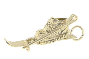 Old Fashioned Vintage Ski Boot Charm in 14 Karat Gold