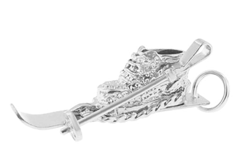 White Gold Ski Boot Charm for a Skier