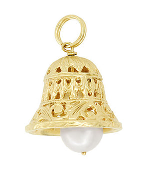 Movable Filigree Bell Charm with Pearl in 14 Karat Gold