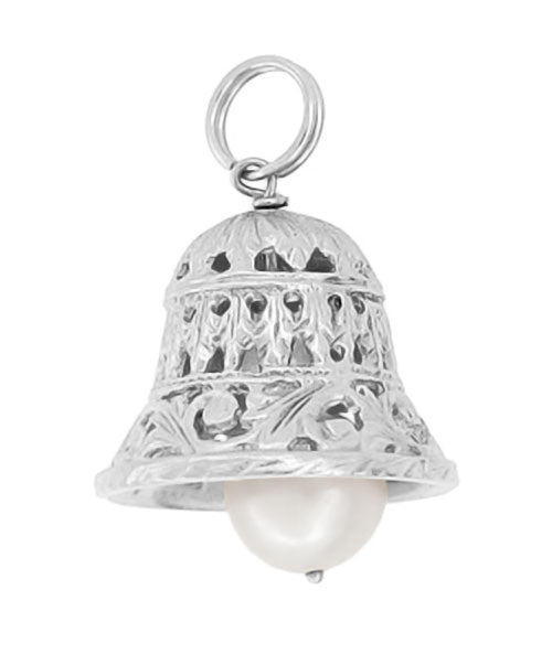 Bell Pendant - White Gold - Pearl Ringing