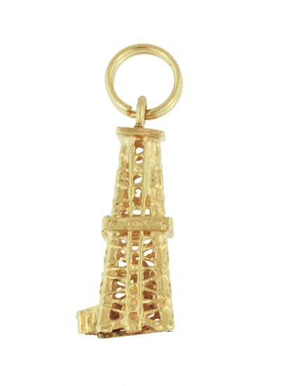 Oil Rig Charm - Vintage Oil Well Pendant - 14K Yellow Gold