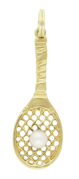Vintage Tennis Racket Pendant in 14 Karat Gold