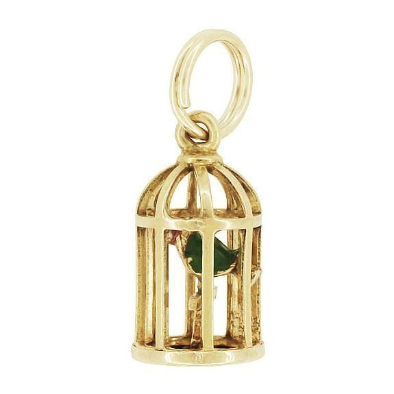 Vintage Bird in a Cage Charm in 10K Gold - Item: C723 - Image: 1