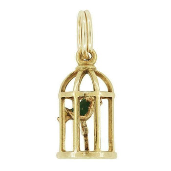 Vintage Bird in a Cage Charm in 10K Gold