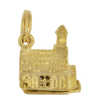 Old Church with Hidden Bride and Groom Movable Charm in 14 Karat Gold