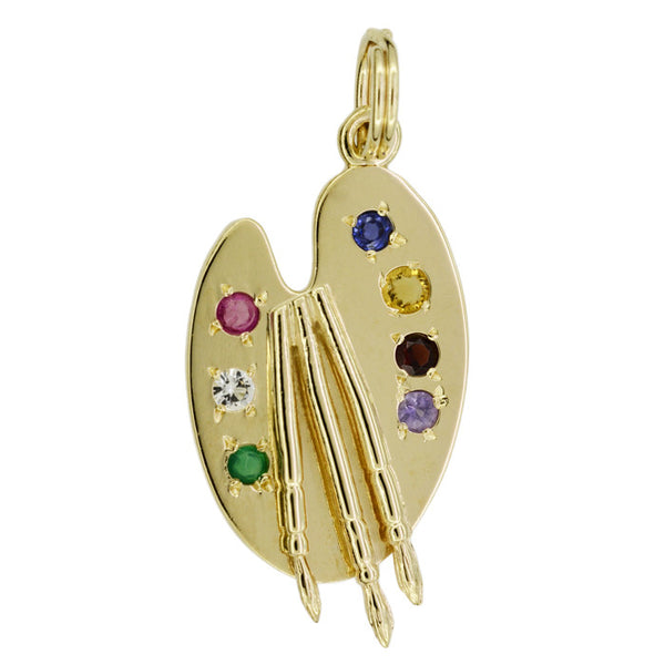 Painter's Palette Vintage Pendant Charm in 14 Karat Yellow Gold with Gemstones