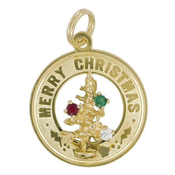 Vintage Merry Christmas Charm Medallion with Gemstone Christmas Tree Ornaments in 14 Karat Gold