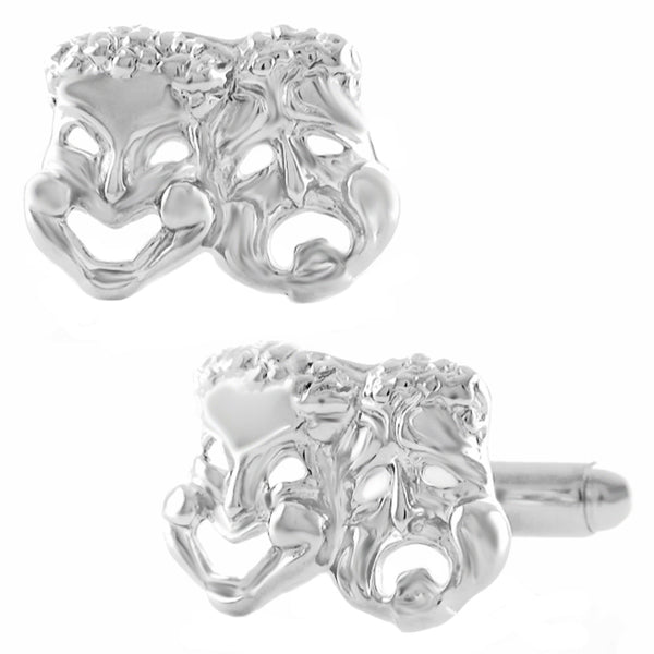 Comedy Tragedy Mask Cufflinks - Sterling Silver SCL143
